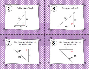 Right Triangle Trig Task Cards