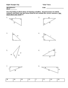 right triangle trig worksheet - Right Triangle Trig Worksheet