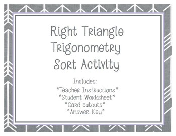 Right Triangle Trigonometry Card Sort Game