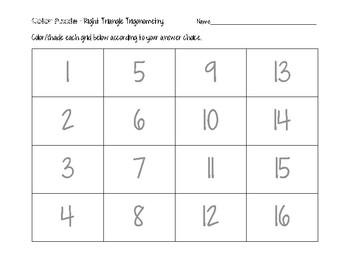 Right Triangle Trigonometry Color Puzzle