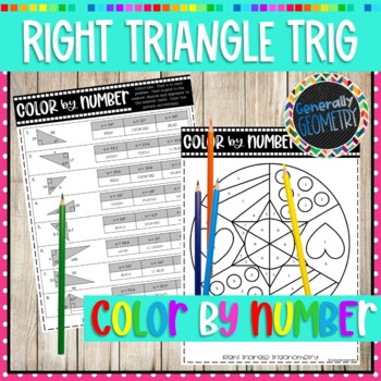 Right Triangle Trigonometry Color by Number; Geometry