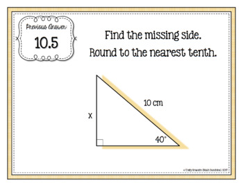 Right Triangle Trigonometry Finding Missing Sides Scavenger Hunt