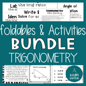 Right Triangle Trigonometry Foldable AND Activities BUNDLE