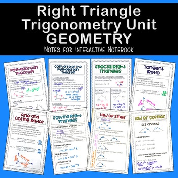 Right Triangle Trigonometry (Geometry) - Unit Notes