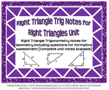 Right Triangle Trigonometry Guided Notes for Right Triangles Unit (Geometry)