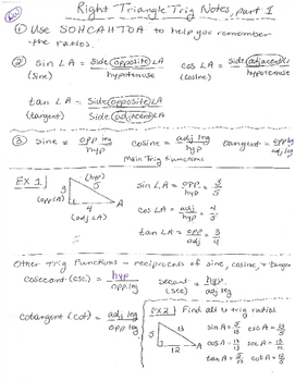 Right Triangle Trigonometry Notes by Delora Washington's ...
