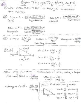 Right Triangle Trigonometry Notes