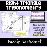 Right Triangle Trigonometry- Puzzle Worksheet
