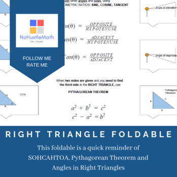 Right Triangle Trigonometry Reference Foldable