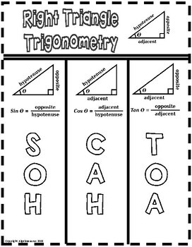 Right Triangle Trigonometry (SOH CAH TOA) Doodle Notes Packet