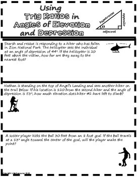 Right Triangle Trigonometry (SOH CAH TOA) Doodle Graphic Organizer Packet