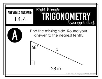 Right Triangle Trigonometry Scavenger Hunt