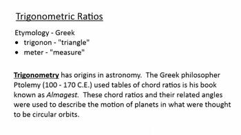 Right Triangle Trigonometry - Sine, Cosine, Tangent