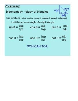 Right Triangle Trigonometry SmartBoard Lesson