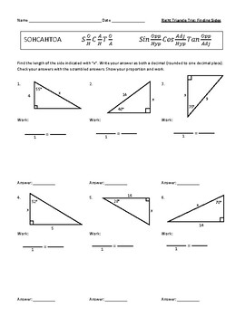 Right Triangle Trigonometry Trig Finding Missing Sides Worksheet Scramble Answer