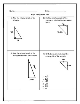 Right Triangle Trigonometry Unit Test by PROBLEMATHIC | TpT