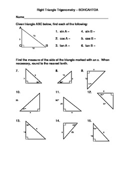 Right Triangle Trigonometry  Using SOHCAHTOA by D.P.F. Galli  TpT