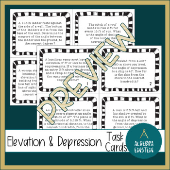 Right Triangles- Angles of Elevation and Depression Application Task Cards