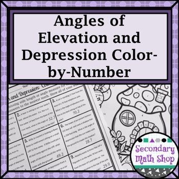 Trigonometry  Angles of Elevation  Depression ColorByNumber  TpT
