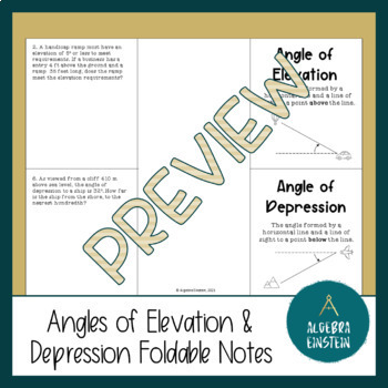 Right Triangles - Angles of Elevation and Depression using Trig Foldable Notes