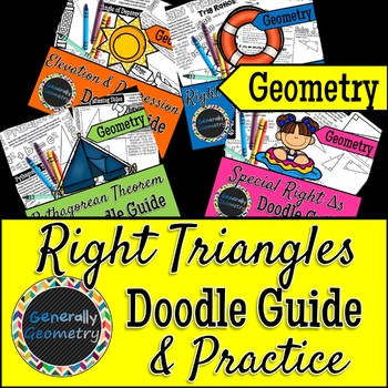 Right Triangles Doodle Notes; Geometry, Pythagorean Theorem, Trigonometry