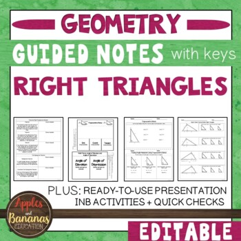 Right Triangles -  Interactive Note-Taking Activities