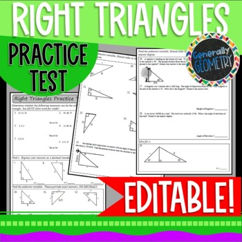 Right Triangles Practice Test; EDITABLE, Pythagorean Theorem, Trigonometry