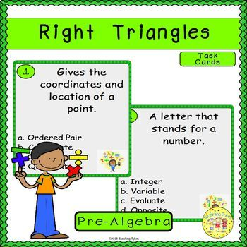 Right Triangles Pre-Algebra Task Cards