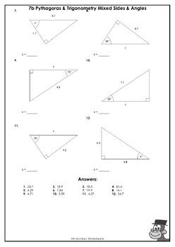 Right Triangles - Pythagoras and Trigonometry Worksheets / Printables