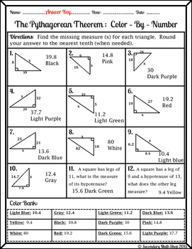 right triangle pythagorean theorem color by number christmas worksheet. Black Bedroom Furniture Sets. Home Design Ideas