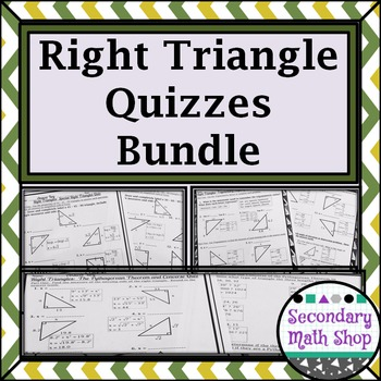 Right Triangles Quizzes Money Saving Mini-Bundle!!!