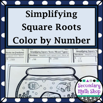 Right Triangles - Simplifying Square Roots (Radicals) Color-By-Number Worksheet