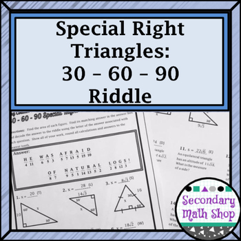 Right Triangles (Special)- 30 60 90 Riddle Practice Worksheet | TpT