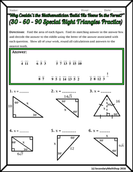 Special Right Triangles Foldable | Math and Algebra