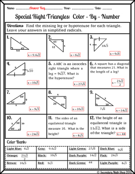 Right Triangles (Special)- 45 45 90 & 30 60 90 Wintery Color-By-Number  Worksheet