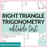 Right Triangles Study Guide and Test--EDITABLE!!