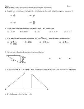 Right Triangles Test