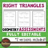 Right Triangles Tests - Geometry Editable Assessments