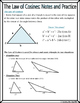 Right Triangles - The Law of Cosines Notes and Practice