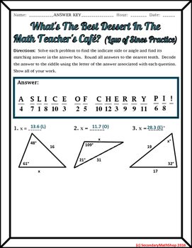 Right Triangles - The Law of Sines Practice Riddle Worksheet