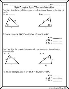Right Triangles Unit - The Laws of Cosines & Sines Quiz FREEBIE!!!