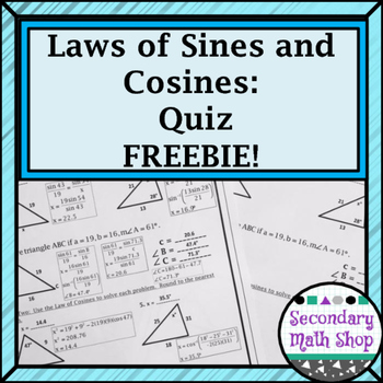 Right Triangles Unit - The Laws of Cosines & Sines Quiz FR