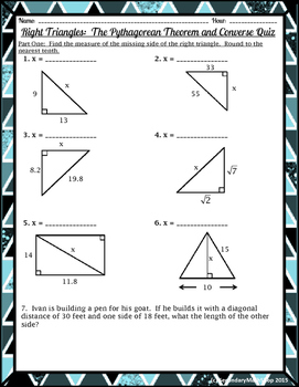 Right Triangles The Pythagorean Theorem and Converse Quiz ...