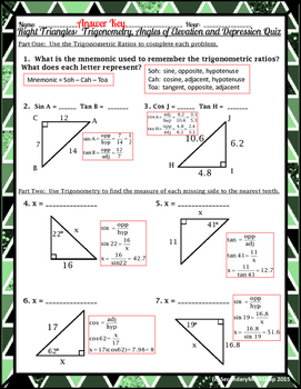 Right Triangles: Trigonometry, Angles of Elevation and Depression Quiz