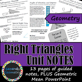 Right Triangles Unit Notes