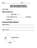 Right Triangles and Pythagorean Theorem Notes and Assignments
