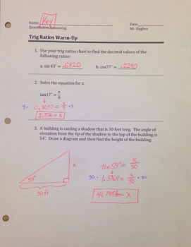 Right Triangles and Trig Ratios Warm Up