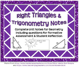 Right Triangles and Trigonometry Notes (Complete Unit Guided Notes and Key)