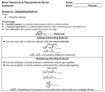 Right Triangles and Trigonometry Notes (Complete Unit ...