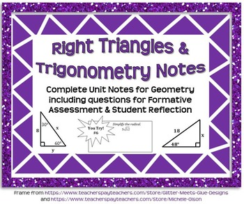 Right Triangles and Trigonometry Notes (Complete Unit Guid